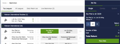 Placing a single bet on Badminton
