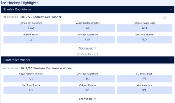 William Hill hockey betting markets