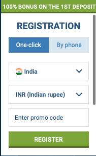 1 click registartaion on 1xbet