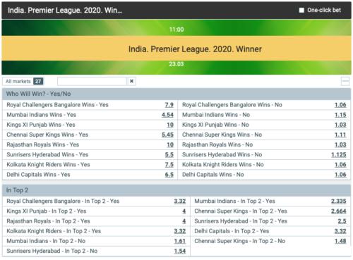 Cricket betting on future markets