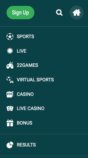 sports and casino menu