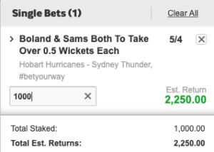 Betting tip for Hurricanes v Thunder