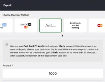 Select a depositng option