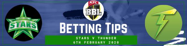 Betting predictions for Stars v Sydney Thunder BBL KO 6.2.20